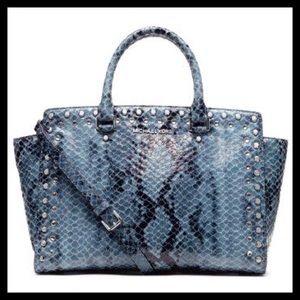 NWOT Michael Kors Selma Snakeskin Handbag